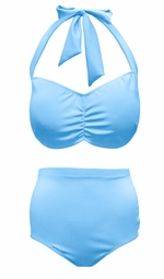 NEW! Light Blue 2 Piece Halter Swimsuit Plus Size Supersize 0x 1x 2x 3x 4x 5x 6x 7x 8x