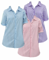 SALE! Pink, Light Purple or Aqua Blue Checkerboard Style French Check Bigshirt Plus Size Short Sleeve Top 2x