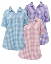 SALE! Pink, Light Purple or Aqua Blue Checkerboard Style French Check Bigshirt Plus Size Short Sleeve Top 2x 3x