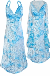 SOLD OUT! CLEARANCE!  Light Royal Blue / Turquoise Tie Dye 2 Piece Princess Seam Dress Set: Beautiful Crush Velvet Plus Size & Supersize With Wrap 1x