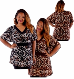 SOLD OUT! Just Reduced! Lightweight Brown or Black Abstract Pattern Plus Size Slinky Tops 4x