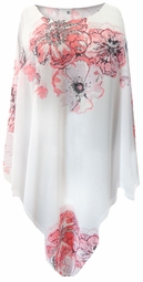 SOLD OUT! White With Pink Tea Roses Lightweight Sheer Poly Blend Plus Size Supersize Poncho