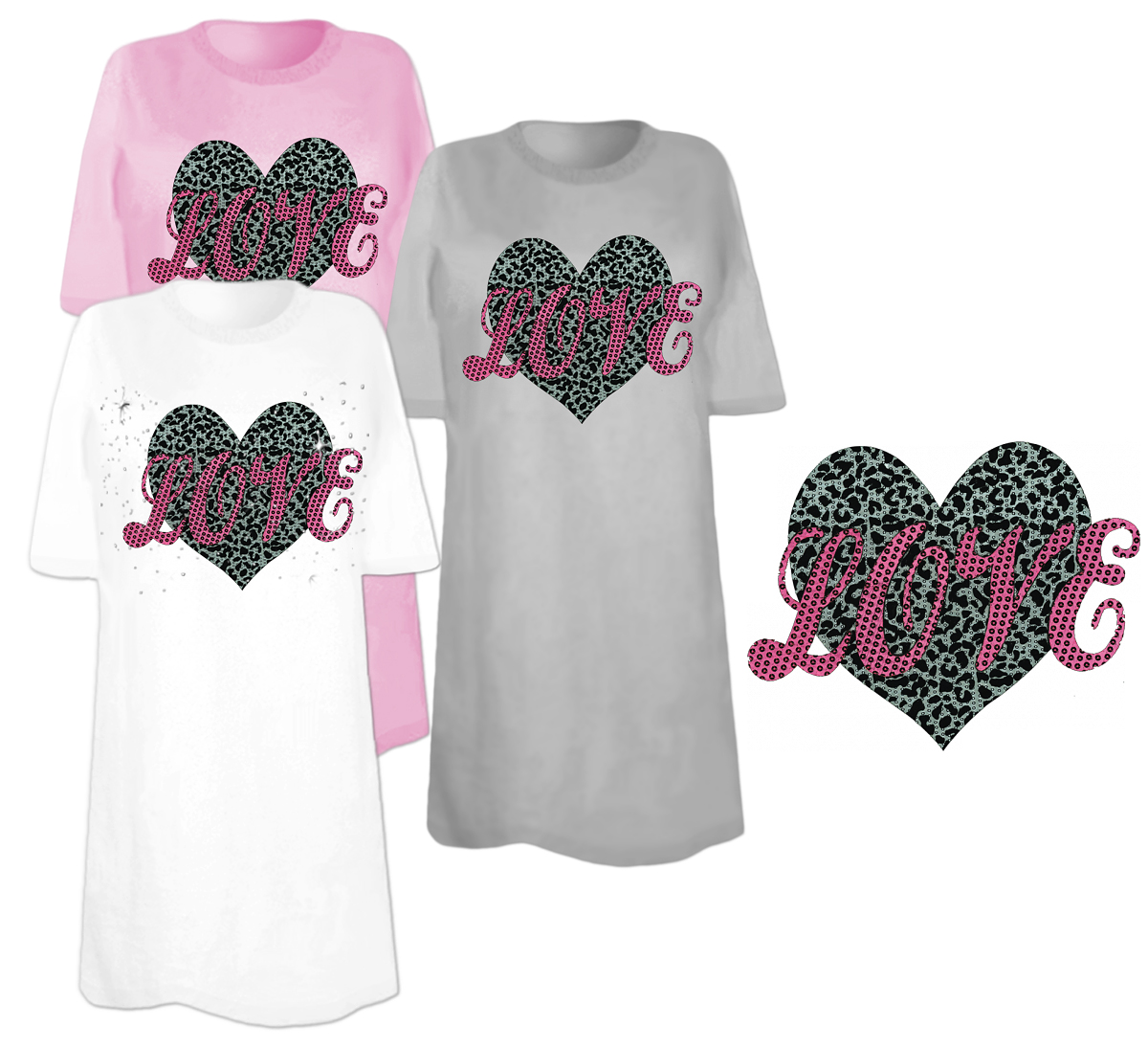 Sale Love Sequins Plus Size Supersize T Shirts S M L Xl