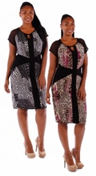 SOLD OUT! SALE! Magenta & Black or Black & White Abstract Mid Length Plus Size Dress 4x 5x 6x
