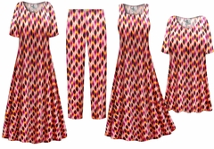 NEW! Magenta Orange Abstract Slinky Print - Plus Size Slinky Dresses Shirts Jackets Pants Palazzo�s & Skirts - Sizes Lg to 9x