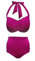 NEW! Magenta Pink 2 Piece Halter Swimsuit Plus Size Supersize 0x 1x 2x 3x 4x 5x 6x 7x 8x