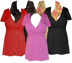 SALE! Plus Size MAGIC BABYDOLLS! Glimmer & Slinky! Babydoll Tops! Lg XL 1x 2x 3x 4x 5x 6x 7x 8x
