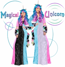 NEW! Magical Unicorn Long Dress Plus Size Supersize Halloween Costume Lg XL 1x 2x 3x 4x 5x 6x 7x 8x 9x