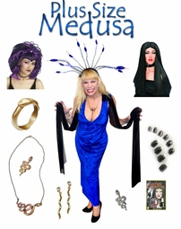 SALE! Medusa Costume Plus Size & Supersize Halloween Costume and Accessory Kit! Sizes Lg XL 1x 2x 3x 4x 5x 6x 7x 8x 9x