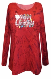 SOLD OUT! Merry Christmas Red Tie Dye Plus Size Long Sleeve Shirt 4x