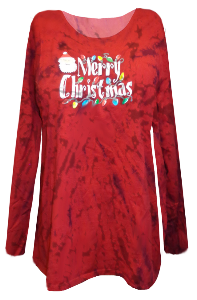 merry christmas red tie dye plus size long sleeve shirt 4x