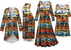 NEW! Metallic Abstract Slinky Lines Print - Plus Size Slinky Dresses Shirts Jackets Pants Palazzo�s & Skirts - Sizes Lg to 9x