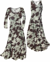 SOLD OUT! Customize Mint Green & Chocolate Brown Blotches Slinky Print Plus Size & Supersize Standard or Cascading A-Line or Princess Cut Dresses & Shirts, Jackets, Pants, Palazzo's or Skirts Lg to 9x