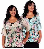 SALE! Plus Size Beige & Pink Tropical Floral Print Short Sleeve Slinky Tunic Tops 4x