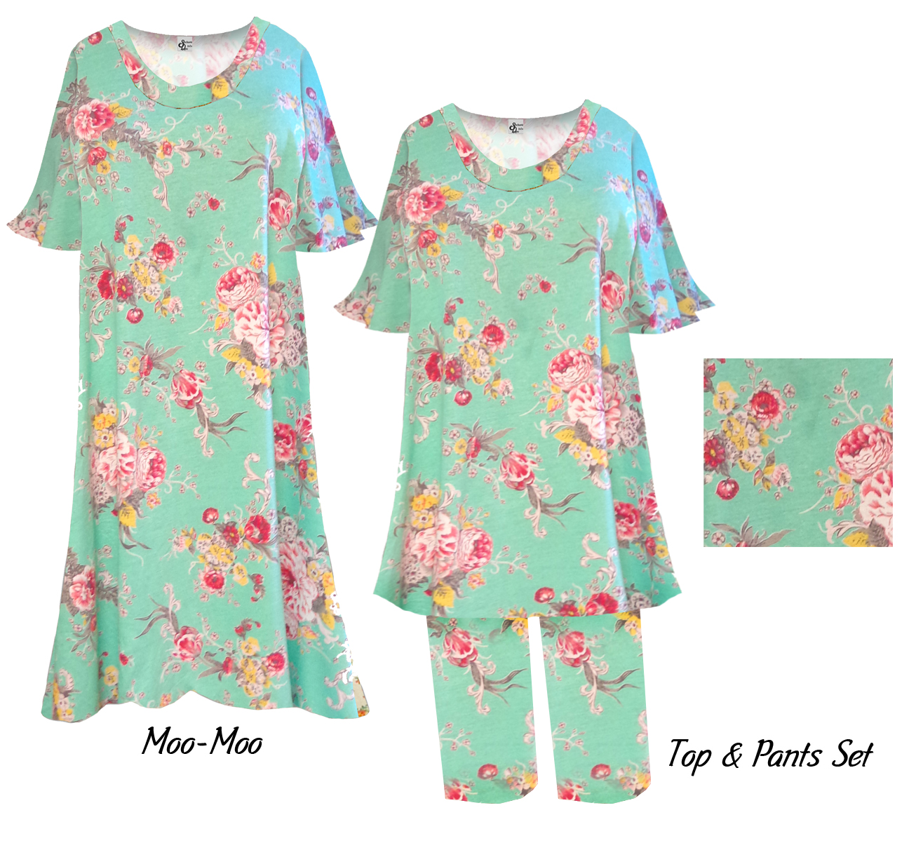 SOLD OUT! Mint Green Spring Flowers Print Moo Moo Dress Plus Size ...