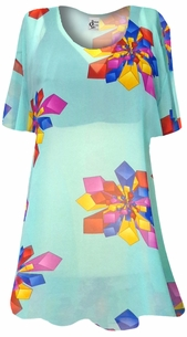 Mint Green with Geometric Shapes Sheer Print Plus Size Coverup Tops / Swimsuit Coverups Plus Size & Supersize 4x 6x 8x