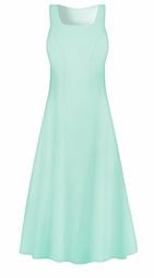 Creamy Mint Poly Cotton Princess Cut Plus Size Dress 0x 1x 2x 3x 4x 5x 6x 7x 8x 9x