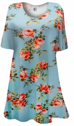 SOLD OUT! SALE! Light Aqua With Roses Print Plus Size & Supersize Extra Long T-Shirts 0x