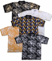 CLEARANCE! Mustard, Black, or White Jazzy Metallic or Multicolor Hats Print Plus Size Short Sleeve Polo Shirts 2x 3x 4x