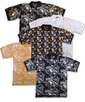 SALE! Mustard, Black, or White Jazzy Metallic or Multicolor Hats Print Plus Size Short Sleeve Polo Shirts 2x 3x 4x