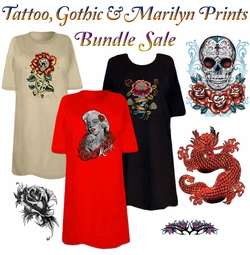 FINAL CLEARANCE SALE! Tattoo & Gothic Print THREE T-SHIRT BUNDLE! Assorted Colors & Designs Plus Size & Supersize L XL 2XL