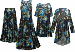 NEW! Navy Floral Slinky Print - Plus Size Slinky Dresses Shirts Jackets Pants Palazzo�s & Skirts - Sizes Lg to 9x