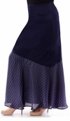 SOLD OUT! SALE! Beautiful Navy Solid Slinky & Half Print Overlay Plus Size Maxi Skirt 4x