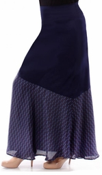 SALE! Beautiful Navy Solid Slinky & Half Print Overlay Plus Size Maxi Skirt 5x