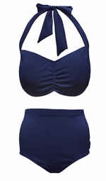 NEW! Navy 2 Piece Halter Swimsuit Plus Size Supersize 0x 1x 2x 3x 4x 5x 6x 7x 8x