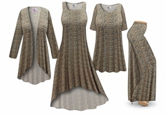 SOLD OUT! Navy & Tan Dots Abstract Print - Plus Size Slinky Dresses Shirts Jackets Pants Palazzo�s & Skirts - Sizes Lg to 9x