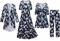 NEW! Navy & White Floral Slinky Print - Plus Size Slinky Dresses Shirts Jackets Pants Palazzo�s & Skirts - Sizes Lg to 9x