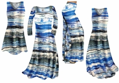 NEW! Ocean Blue Lines Slinky Print - Plus Size Slinky Dresses Shirts Jackets Pants Palazzo�s & Skirts - Sizes Lg to 9x