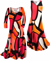 SOLD OUT! Customize Orange & Black Cubist Slinky Print Plus Size & Supersize Standard or Cascading A-Line or Princess Cut Dresses & Shirts, Jackets, Pants, Palazzo's or Skirts Lg to 9x
