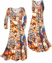 SOLD OUT! Customize Orange & Blue Multi Animal Skin Slinky Print Plus Size & Supersize Standard or Cascading A-Line or Princess Cut Dresses & Shirts, Jackets, Pants, Palazzo's or Skirts Lg to 9x
