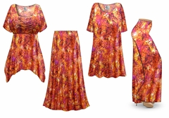 Orange Crackle Slinky Print - Plus Size Slinky Dresses Shirts Jackets Pants Palazzo�s & Skirts - Sizes Lg to 9x