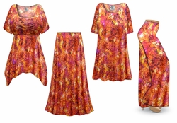 SOLD OUT! Orange Crackle Slinky Print - Plus Size Slinky Dresses Shirts Jackets Pants Palazzo�s & Skirts - Sizes Lg to 9x