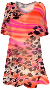 SOLD OUT! Orange Leopard Sheer Print Plus Size Coverup Tops / Swimsuit Coverups Plus Size & Supersize  3x 4x 5x 6x 8x