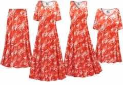 NEW! Orange Wavy Abstract Slinky Print - Plus Size Slinky Dresses Shirts Jackets Pants Palazzo�s & Skirts - Sizes Lg to 9x