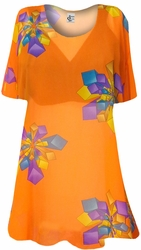 Orange with Geo Shapes Sheer Print Plus Size Coverup Tops / Swimsuit Coverups Plus Size & Supersize  6x