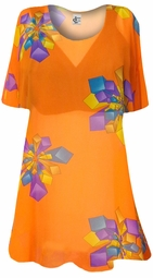 SOLD OUT! Orange with Geo Shapes Sheer Print Plus Size Coverup Tops / Swimsuit Coverups Plus Size & Supersize