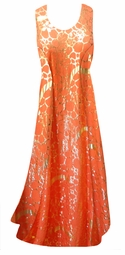 SALE! Orange With Gold Metallic Shiny Slinky Print Princess Cut Slinky Plus Size Dress 0x