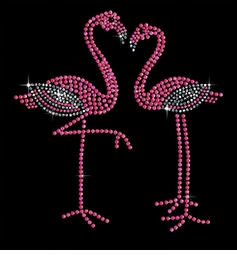 SALE! Pair of Pink Flamingos Sparkly Rhinestuds Plus Size & Supersize T-Shirts S M L XL 2x 3x 4x 5x 6x 7x 8x 9x (All Colors)