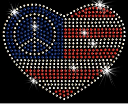 SALE! Small Patriotic American Flag With Peace Sign In Heart Sparkly Rhinestuds Plus Size & Supersize T-Shirts S M L XL 2x 3x 4x 5x 6x 7x 8x 9x (All Colors)