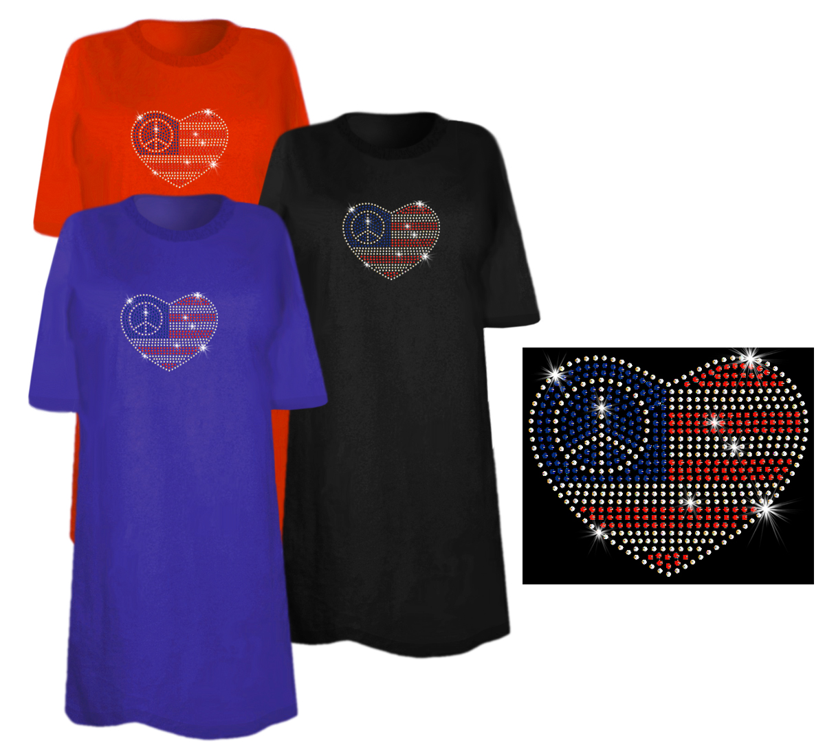 Sale small patriotic american flag with peace sign in for 3x shirts on sale