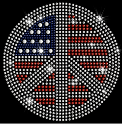 SALE! Patriotic Flag Peace Sign Sparkly Rhinestuds Plus Size & Supersize T-Shirts S M L XL 2x 3x 4x 5x 6x 7x 8x 9x (All Colors)