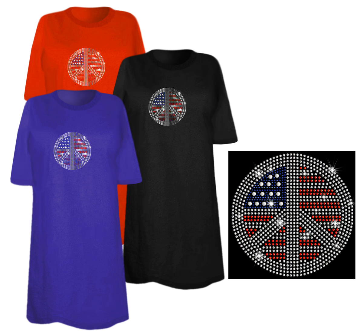 Sale patriotic flag peace sign sparkly rhinestuds plus for 3x shirts on sale