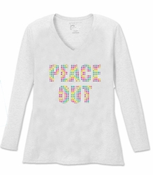 SALE! Peace Out Long Sleeve Plus Size Shirt White Brown Pink Green Wine 4x 5x