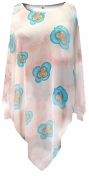 SOLD OUT! Peach With Blue Pansies Lightweight Sheer Poly Blend Plus Size Supersize Poncho
