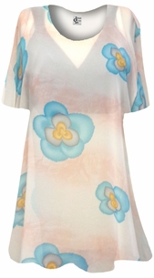 SALE! Peach With Blue Pansies Sheer Print Plus Size Coverup Tops / Swimsuit Coverups Plus Size & Supersize 8x