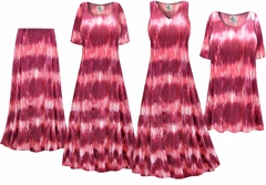 Pink Abstract Slinky Print - Plus Size Slinky Dresses Shirts Jackets Pants Palazzo�s & Skirts - Sizes Lg to 9x